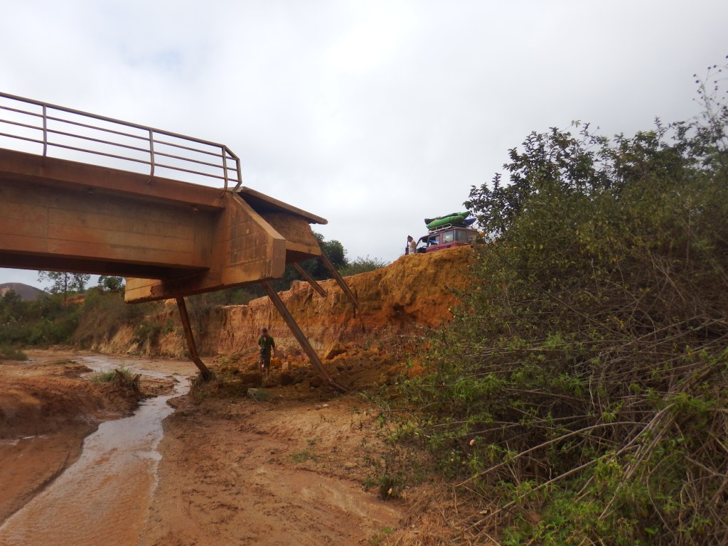 Broken bridge - one of the many challenges we faced on the road.