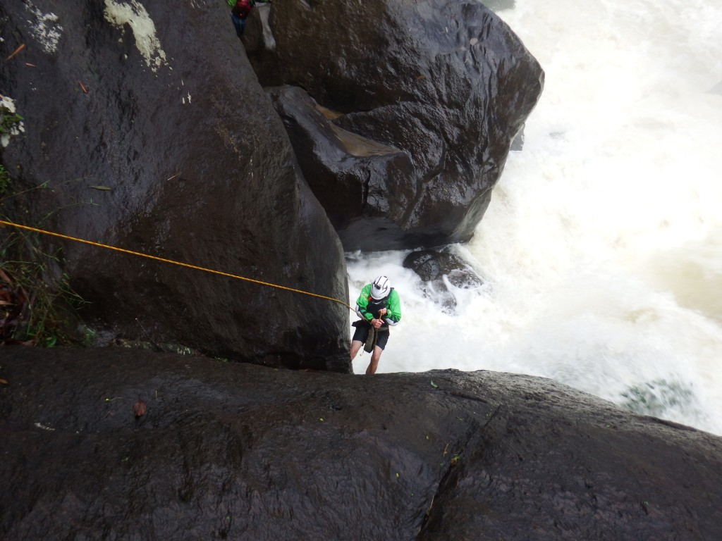 Matt portaging first rapid that required abseiling.